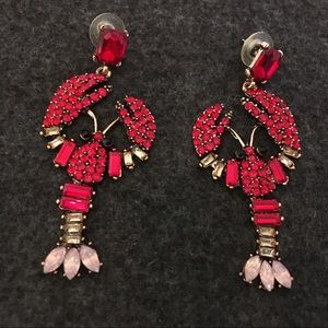 NEW LARGE RED LOBSTER RHINESTONE EARRINGS